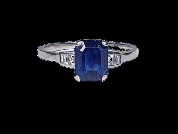 Art deco sapphire and diamond engagement ring sku 4803  DBGEMS - image 1