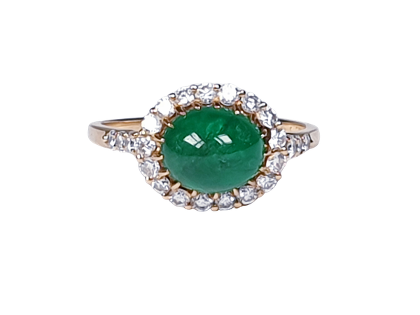 Cabochon emerald and diamond cluster ring sku 4807  DBGEMS - image 1