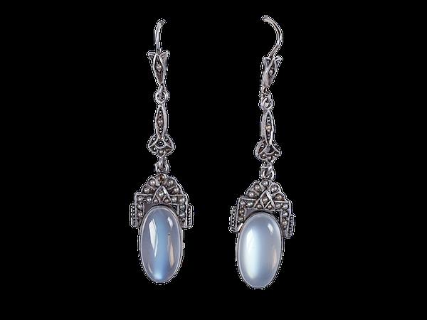 Moonstone and pearl drop earrings sku 4808  DBGEMS - image 1