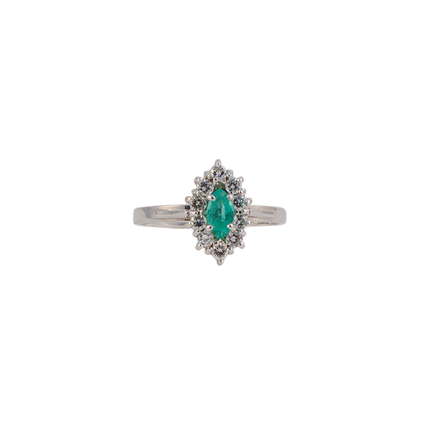 Emerald Diamond Ring in 18ct White Gold date Birmingham 1981 SHAPIRO & Co since1979 - image 1