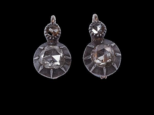 Chunky antique rose cut diamond drop earrings sku 4815  DBGEMS - image 1
