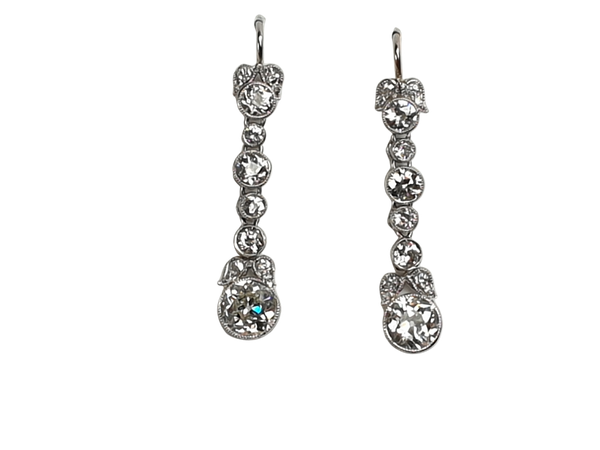 Art deco diamond drop earrings sku 4820  DBGEMS - image 1