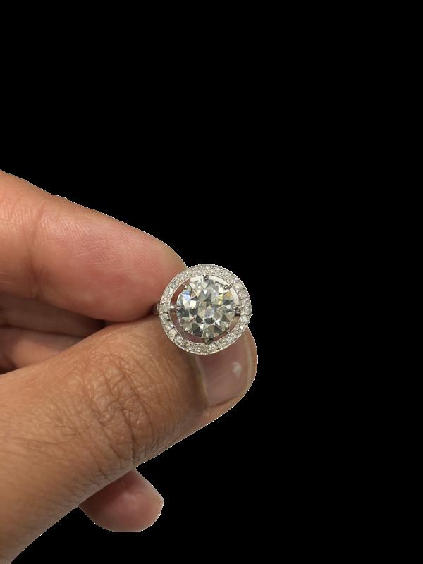 2.57 ct French Art Deco Diamond platinum ring - image 1