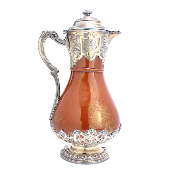 French silver and ceramic Claret Jug by Bointaburet with special design of ceramic by Clement Massier( 1844-1917) - image 1
