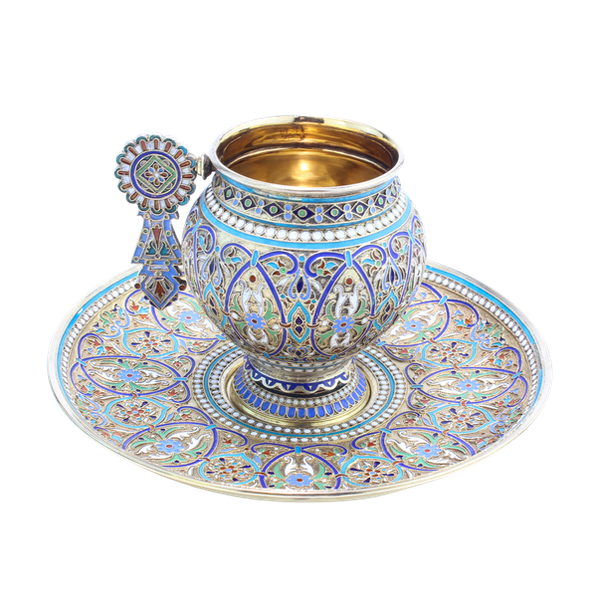 Russian silver and enamel cup and saucer, Ivan Saltykov, Moscow 1887 - image 1
