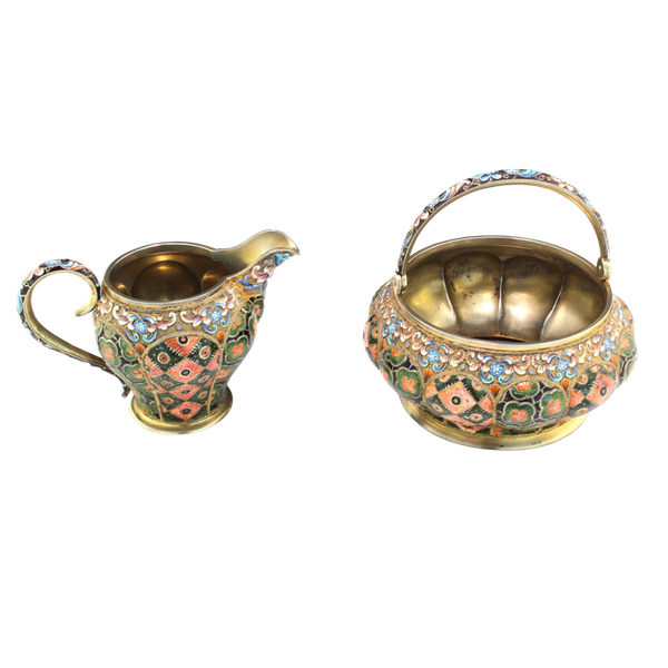 Russia silver-gilt and cloisonné enamel sugar bowl and creamer, 6th Artel, Moscow, 1908-1917. - image 1