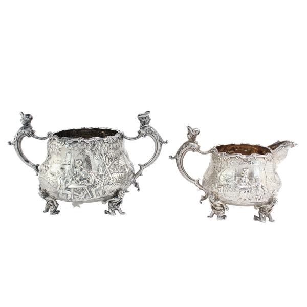 English silver creamer and sugar bowl by Joseph and John Angell, 1836,1840 - image 1