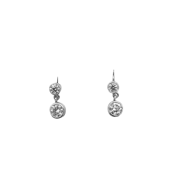 Double Diamond Drop Earrings, Total weight 0.95cts - image 1