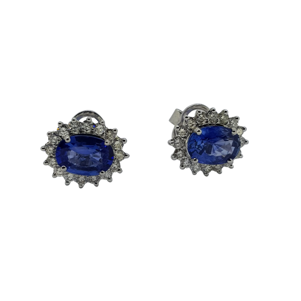 Sapphire and Diamond cluster earrings - image 1