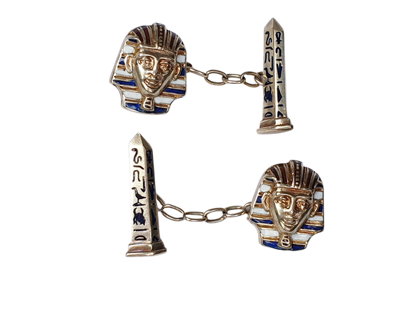 Pair of Egyptian revival gold and enamel cufflinks sku 4831  DBGEMS - image 1