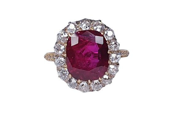 Stunning 3.93ct natural ruby and diamond cluster ring sku 3834  DBGEMS - image 1