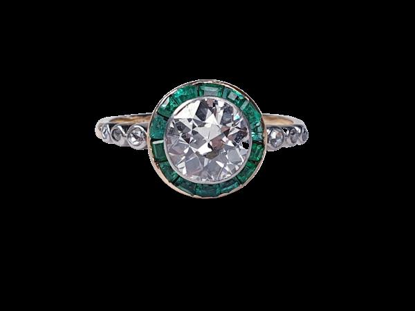 Edwardian emerald and diamond target engagement ring sku 4835  DBGEMS - image 1