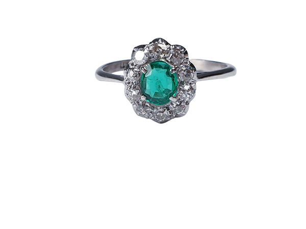 Art deco emerald and diamond cluster ring sku 4839  DBGEMS - image 1