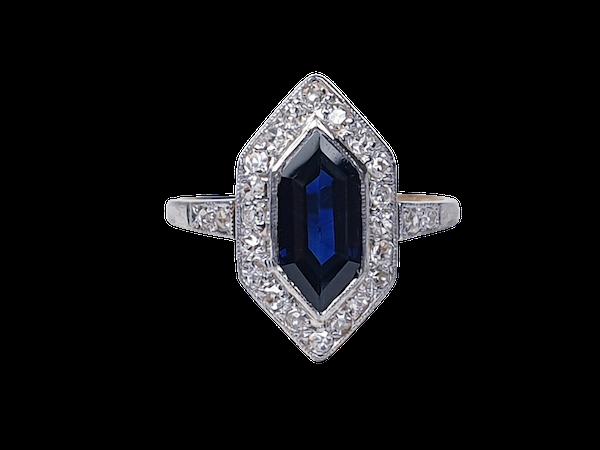 Rare Edwardian trapezoid sapphire and diamond ring SKU 4842  DBGEMS - image 1