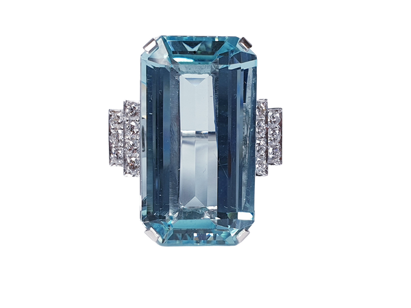 Aquamarine and diamond dress ring sku 4845  DBGEMS - image 1