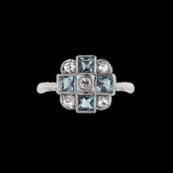 An Aquamarine Diamond ring - image 1