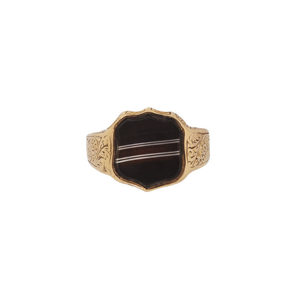 A Banded Agate Signet Ring - image 1