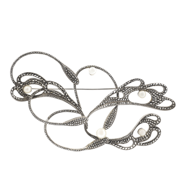 A Large Marcasite Silver brooch - image 1