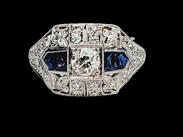 Art deco sapphire and diamond engagement ring sku 4841  DBGEMS - image 1