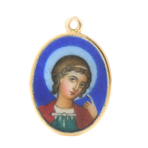 Russian Faberge gold and enamel pendant of St. George, Moscow c.1900 - image 1