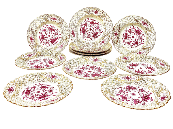 Reticulated Meissen Indian Purple plates - image 1