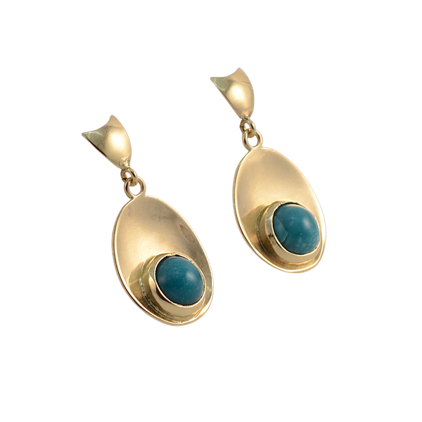 Turquoise Earrings in 18ct Gold by Karl-Erik-Palmberg date Sweden-Falköping 1967 SHAPIRO & Co since1979 - image 1
