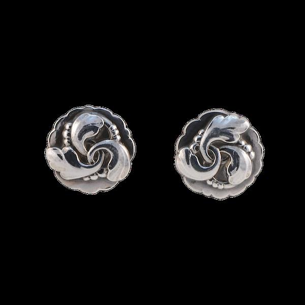 Georg Jensen Silver Earrings date post 1945 mark, SHAPIRO & Co since1979 - image 1