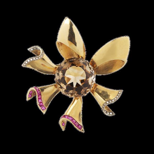 A Citrine Ruby Diamond flower brooch - image 1