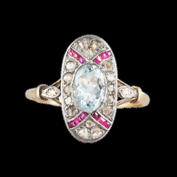 An Aquamarine, Ruby, and Diamond Ring - image 1