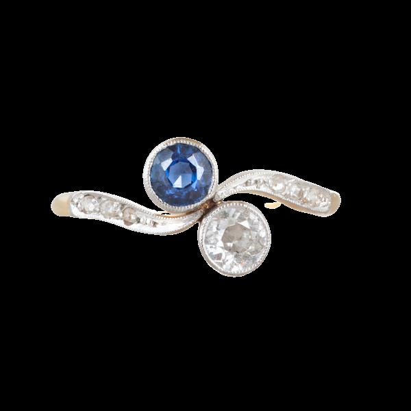 A Sapphire Diamond Toi et Moi Ring - image 1