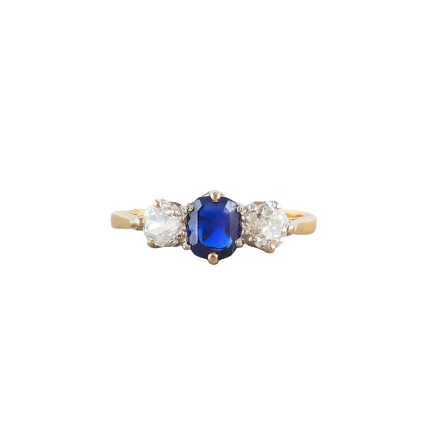 A three stone Sapphire Diamond Ring - image 1