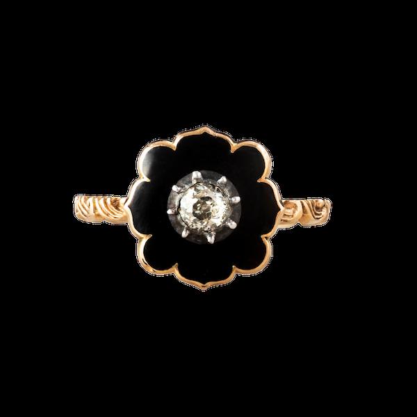 A Black Enamel Diamond ring - image 1