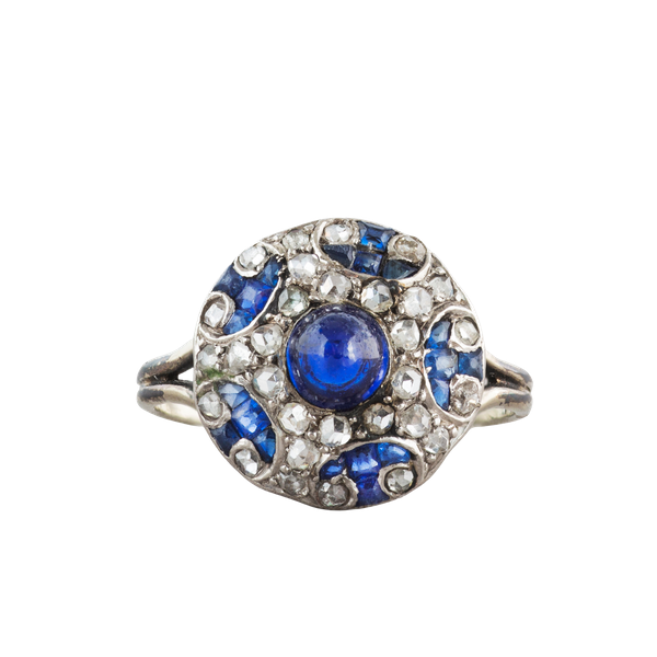 A 1910 Sapphire, Diamond and Platinum bottle nose ring - image 2