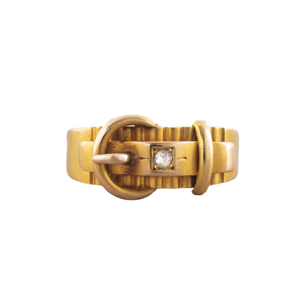 A Gold Diamond Buckle ring - image 1
