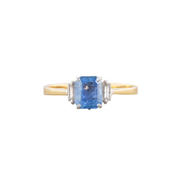 A Cornflower Sapphire and Diamond ring - image 1