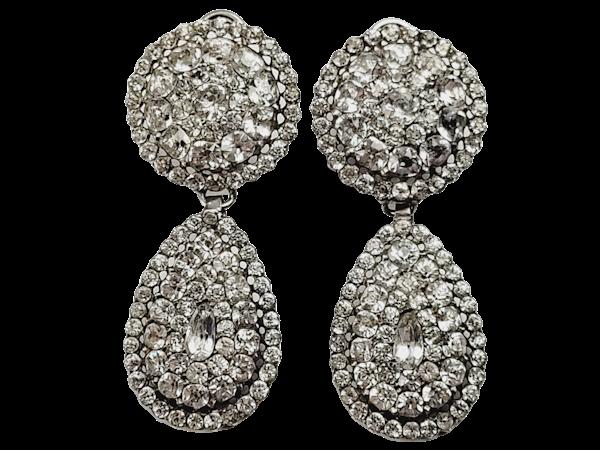 Fine 18th century Black dot paste drop earrings  sku 4856  DBGEMS - image 1