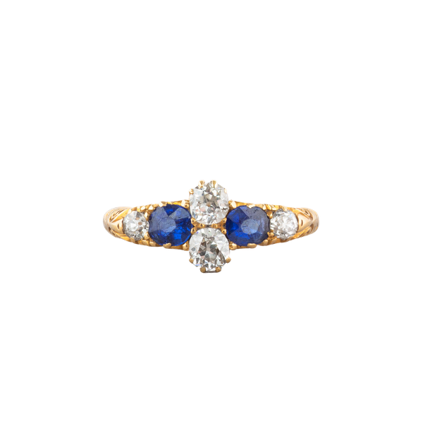 A Victorian carved Sapphire and Diamond half hoop ring - image 1