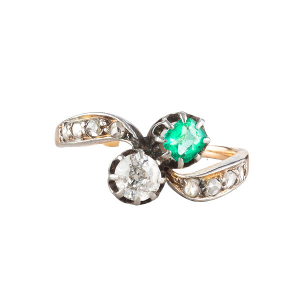 An Emerald and Diamond Toi et Moi ring - image 1