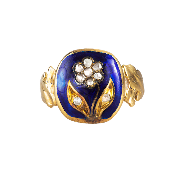 A Blue Enamel and Pearl Forget-Me-Not Gold ring - image 1