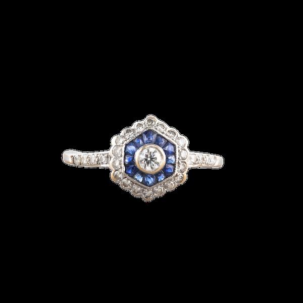 A hexagonal Sapphire and Diamond ring - image 1