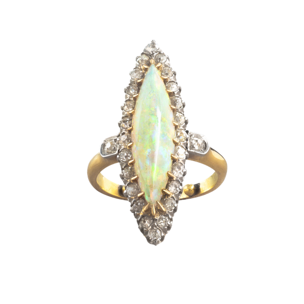 A French Opal and Diamond Marquise ring - image 1