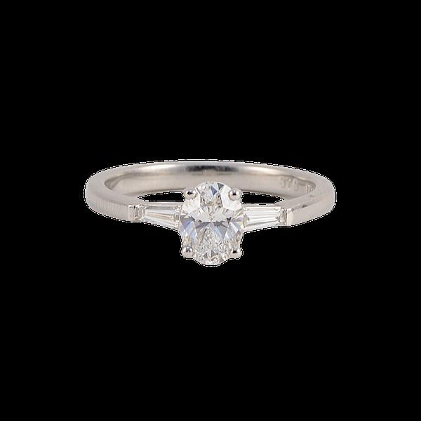 Diamond Ring in Platinum Oval Cut Diamond 0.70ct date London 2006 SHAPIRO & Co since1979 - image 1
