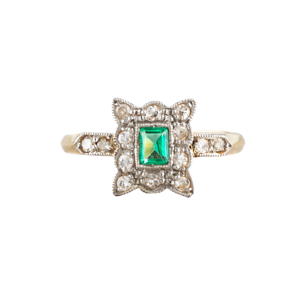 An Antique Emerald Diamond ring - image 1