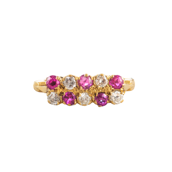 A Victorian Ruby and Diamond Chequerboard ring - image 1