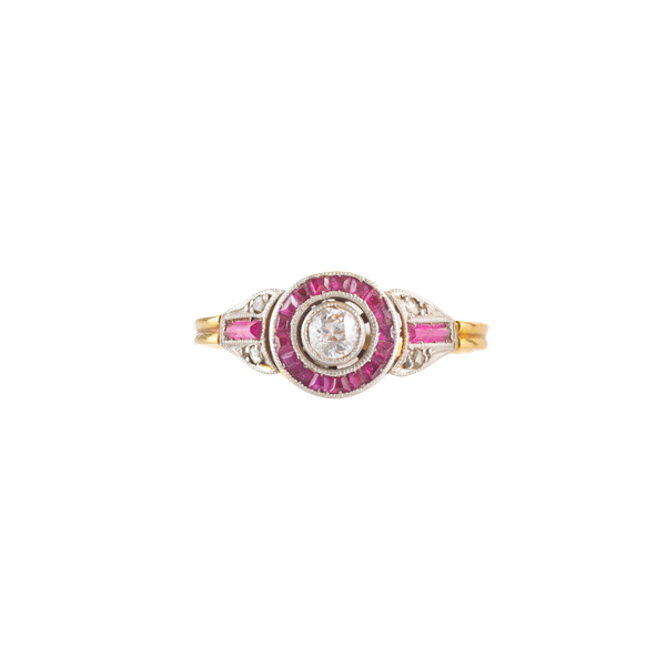 An Art Deco Diamond Target ring with Ruby halo - image 1