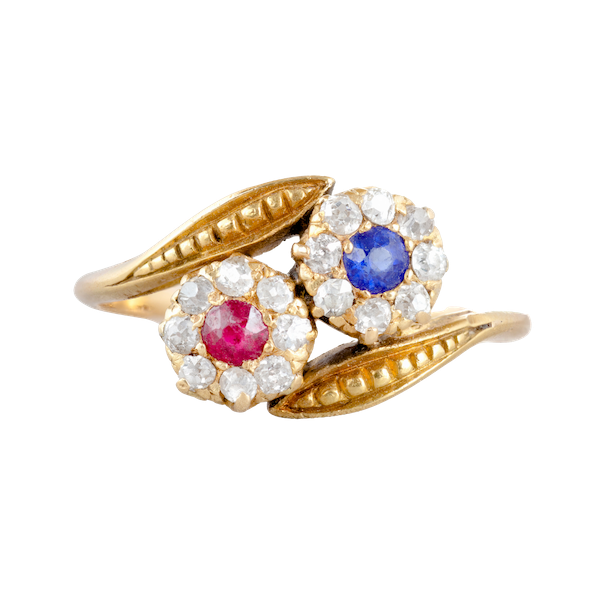 A Sapphire and Ruby Double Cluster ring - image 1