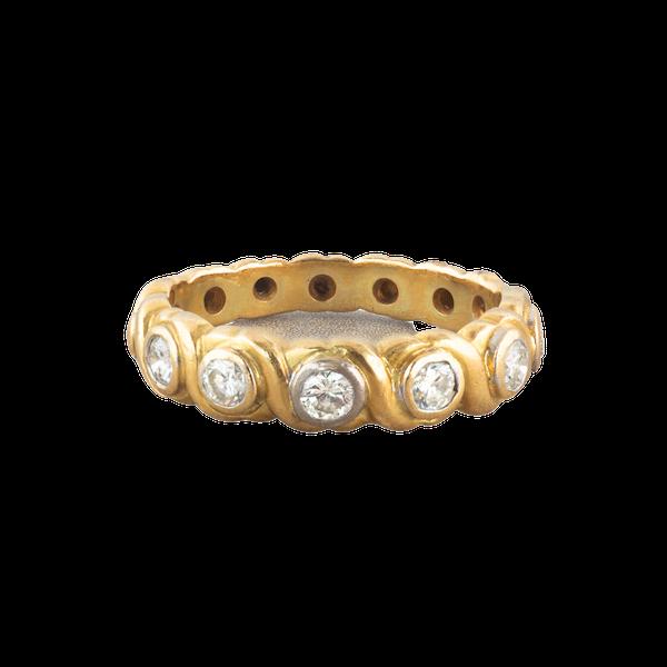 A six stone Diamond Gold ring band - image 1