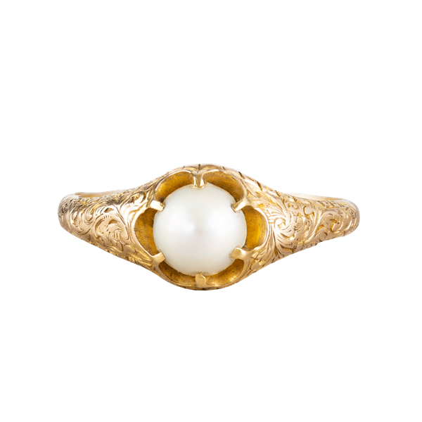 A Gold Foliate engraved Pearl ring - image 1