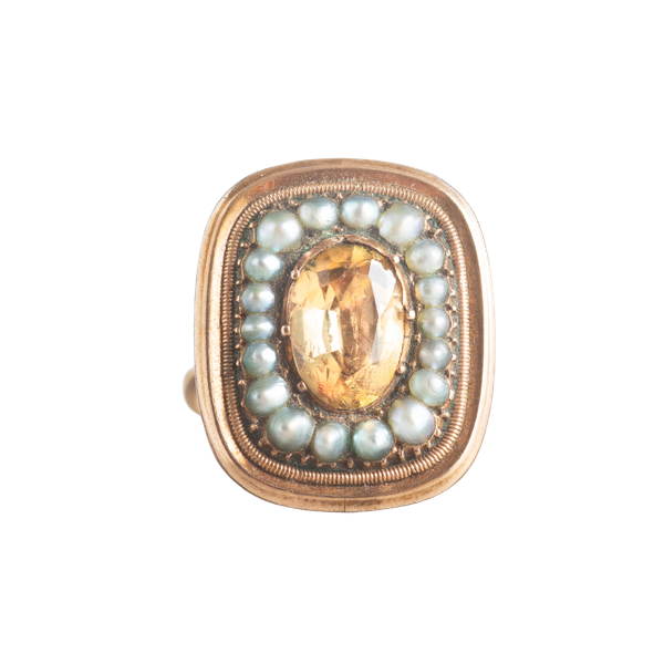 A Topaz and Pearl Gold ring - image 1