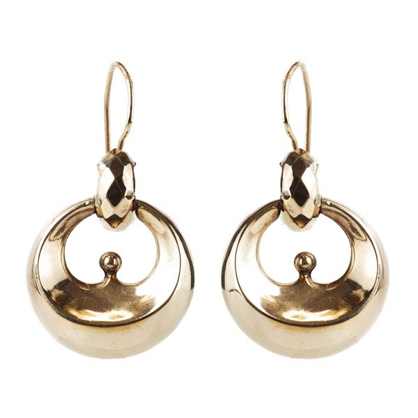 A Pair of Nine Carat Gold Crescent Drop Earrings - image 1